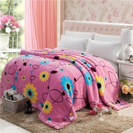 Refreshing Pastoral Style Flowers Design Raschel Blanket
