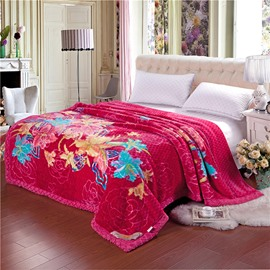 Graceful Floral Printing Red Cozy Raschel Blanket