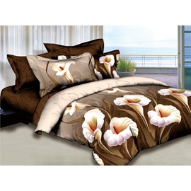 Elegant Calla Lily Print Camel 2-Piece Pillow Cases