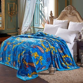Exotic Exquisite Jacquard Design Warm Blue Blanket