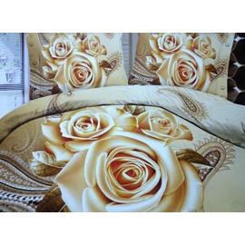 Retro 3D Three Roses Print 2-Piece Pillow Cases