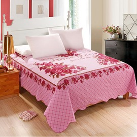 King Size 100% Cotton Romantic Flowers Letter Printed Sheet