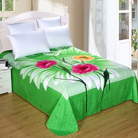King Size Colorful Flowers Design Green Printed Sheet