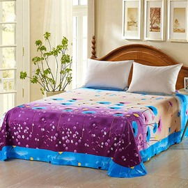 Blue and Purple Floral Design Cotton Printed Sheet