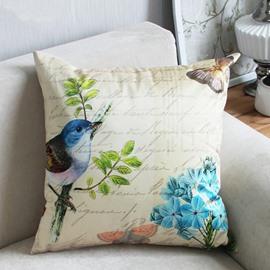 Top Class Pastoral Style Bird and Butterflies Print Throw Pillow