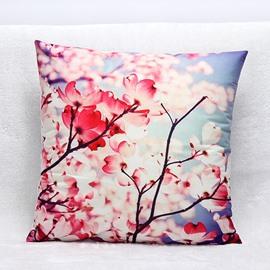 Pastoral Red Flowers Print Plush Throw Pillow