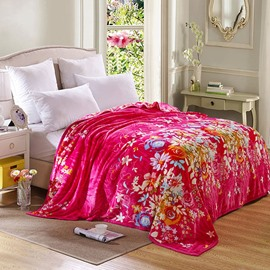 Nice Colorful Flowers with Rosy Ground Bed Blanket