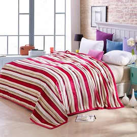 Faddish Concise Stripes Design Anti-pilling Flannel Blanket
