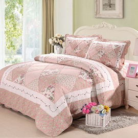 Sweet Floral Light Pink 3-Piece Cotton Bed in a Bag