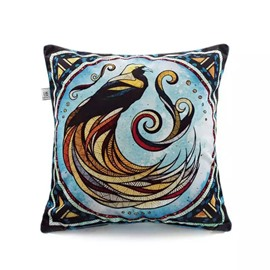 Bird Totem Paint Throw Pillow