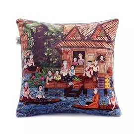 National Characteristic People and Building Paint Throw Pillow