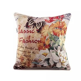 Butterfly and Chrysanthemums Paint Throw Pillow