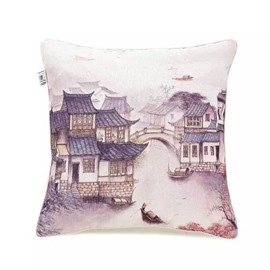 Ancient Water Towns Paint Throw Pillow