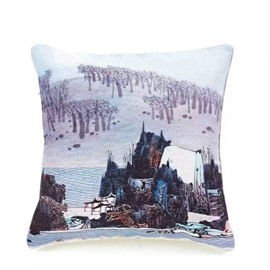 Chinese Mountains-and-Waters Painting Paint Throw Pillow