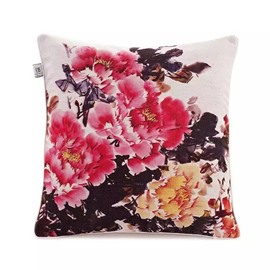 Regal Peonies Paint Throw Pillow