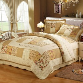 Elegant Pastoral Floral European Style Beige 3-Piece Bed in a Bag