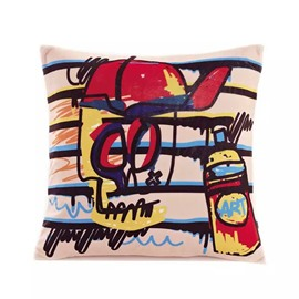 Cartoon Colored Skull Paint Throw Pillow Case