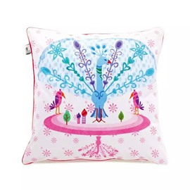 Colorful Peafowl Cartoon  Paint Throw Pillow Case