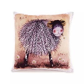 Cartoon Sheep Paint Throw Pillow Case
