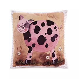 Cartoon Pig Paint Throw Pillow Case