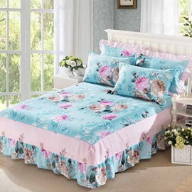 Korean Style Peonies Printing Blue 3-Piece Bed Skirt Set