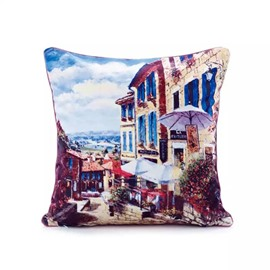 Streetscape of Small Town Paint Throw Pillow Case