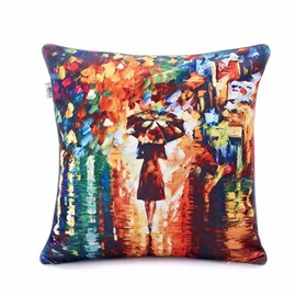 A Woman under the Umbrella Paint Throw Pillow Case
