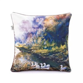 Pretty White Ducks Swimming Paint Throw Pillow Case