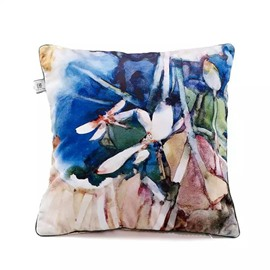 Decorative Colored Flowers Paint Throw Pillow Case