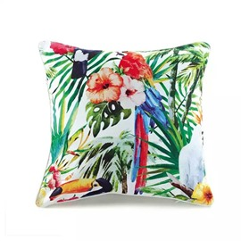 High-Colored Morning-Glorys and BirdsPaint Throw Pillow Case