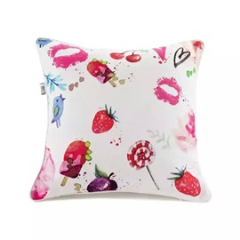 Lovely Red Lip Print and Strawberry Paint Throw Pillow Case