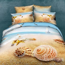 Unique Starfish and Shell on Beach Print 3D Couple Pillowcases