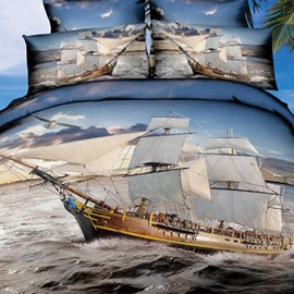 High Quality Ship Sailing on the Sea Print Two Pieces Pillow Case
