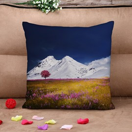 Pleasurable Prairie and Snow Mountain Cotton Throw Pillow Case