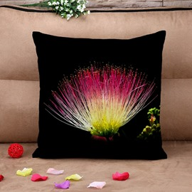 Elegant Black Floral Cotton Throw Pillow Case