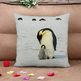 Lovely Penguins White Cotton Throw Pillow Case
