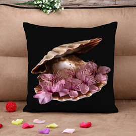 Elegant Seashell with Pink Peach Blossom Black Cotton Throw Pillow Case