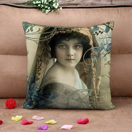 Russian Beautiful Girl Retro Cotton Throw Pillow Case