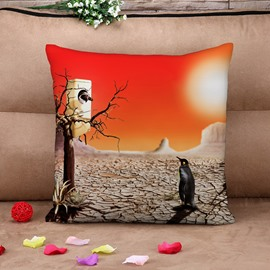 Tropical Desert with Penguins and Deadwood Cotton Throw Pillow Case