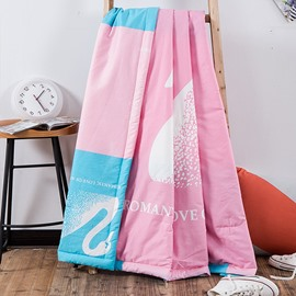 Super Graceful White Swan Pink Cotton Summer Quilts