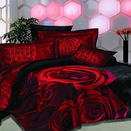 Fabulous Red Rose Black Skin Print Polyester 2-Piece Throw Pillow Cases
