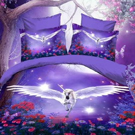 3D Unicorn with Wings Dreamlike Purple Polyester Fitted Sheet