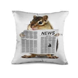 Dedicated Mouse Reading Newspaper Print Throw Pillow Case