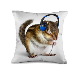 Lovely Mouse Listening Music Print Throw Pillow Case