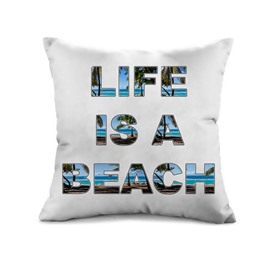 Special Letter Design Beach Scenery Print Throw Pillow Case