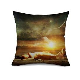 Dreamlike Beautiful Mermaid Design Print Throw Pillow Case
