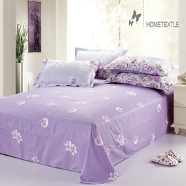 Sweet Rose and Lily Blossom Reactive Printing Cotton Printed Sheet