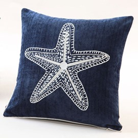 Stylish Design Starfish Embroidery Blue Polyester Throw Pillow