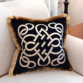 New Personalized Stripe Macrame Blue Throw Pillow