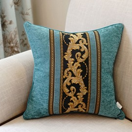 Fabulous Lush Flower Embroidery Blue Polyester Throw Pillow
